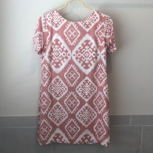 Pink and white shift dress
